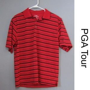 PGA Tour Golf Shirt Red & Black Striped Polo Sz M